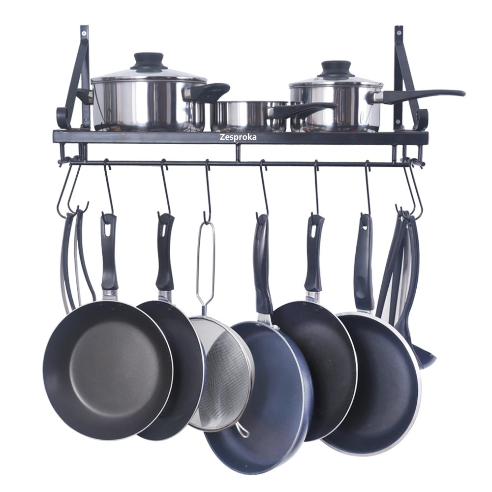 ZESPROKA Kitchen Wall Pot Pan Rack,With 10 Hooks,Black ...