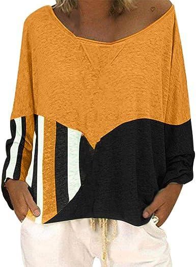Camisa Rayas Suelta Mujer Talla Grande Camiseta Informal de ...