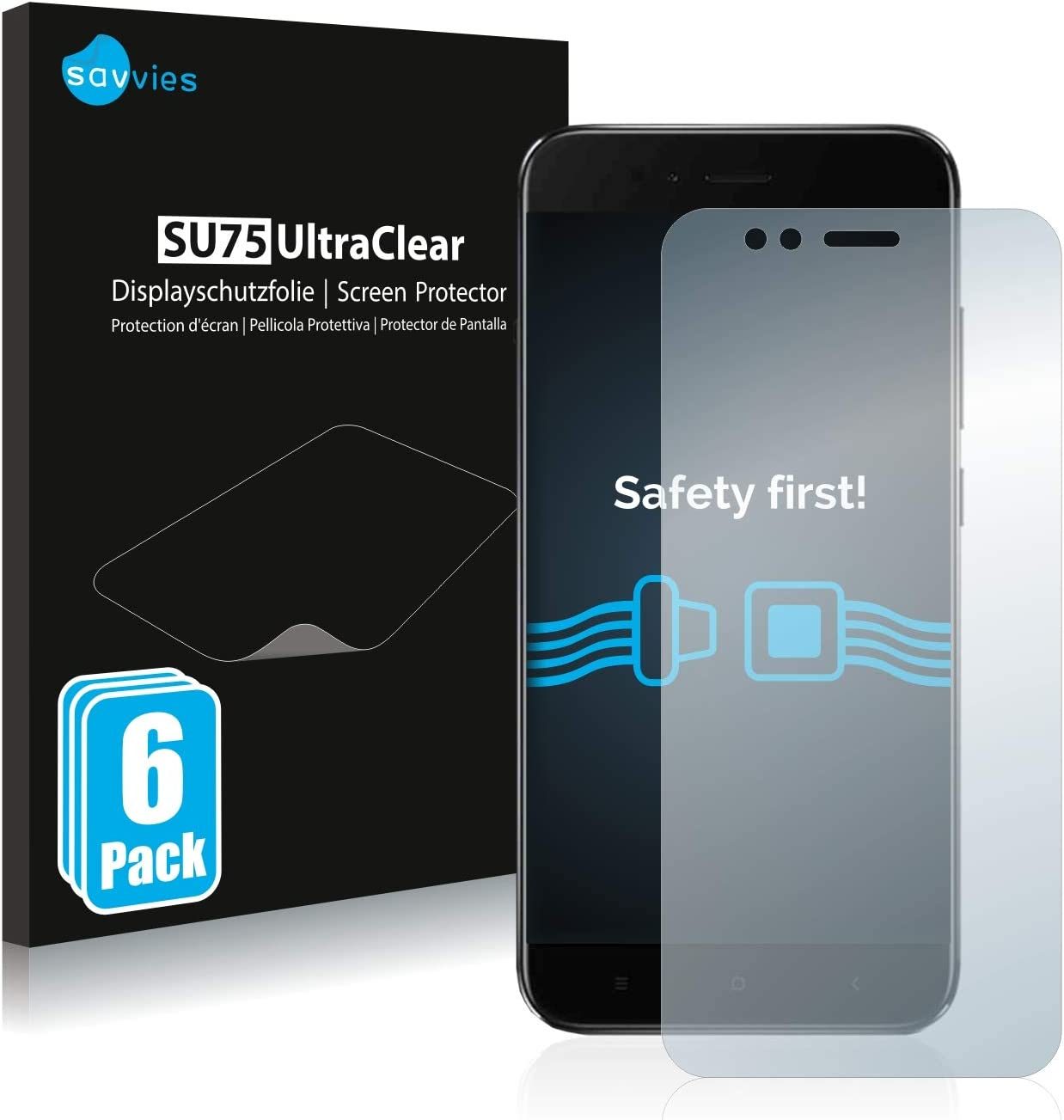 savvies 6-Pezzi Pellicola Protettiva Compatibile con Xiaomi Mi A1 Protezione Schermo Trasparente
