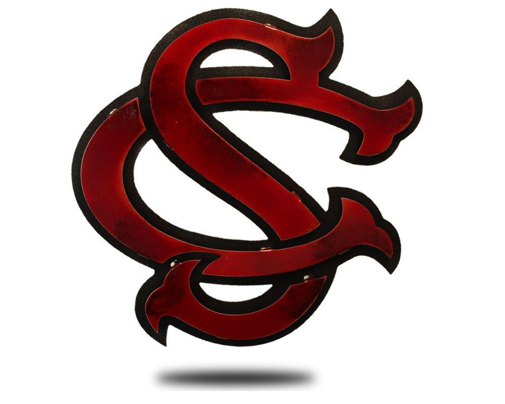 Gear New South Carolina Baseball Logo 3D Vintage Metal College Man Cave Art, Large, Maroon/Black