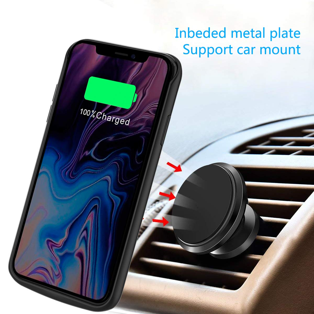 Noir, 6000mAh Coque Batterie iPhone XS Max 6000mAh Rechargeable Coque avec Batterie Externe Chargeur Portable Power Bank Battery Case Antichoc Housse de Protection pour iPhone XS Max 6.5