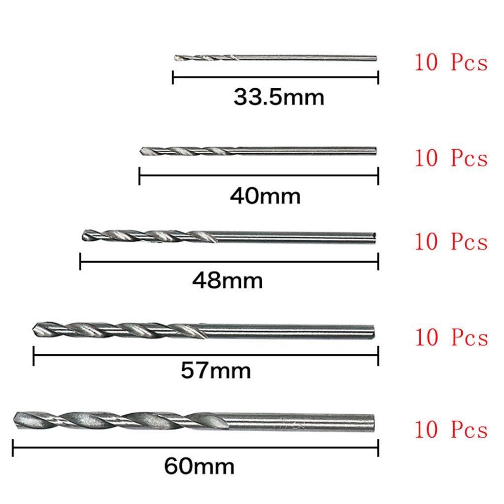 Gaddrt 50PCS Building drill bit set utensili in acciaio ad alta velocit/à 1//1.5//2//2.5//3/mm