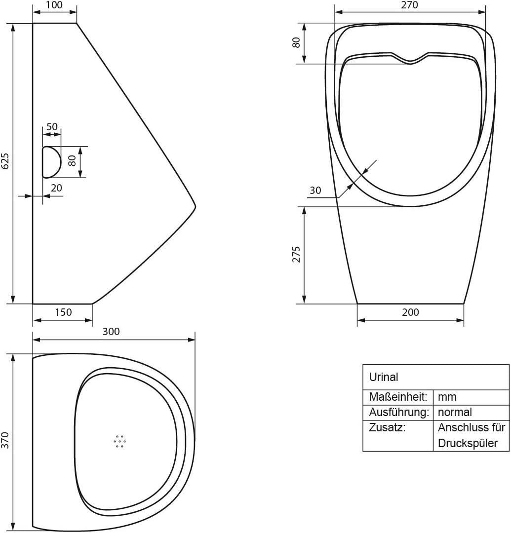 WC Pissoir Pinkelbecken Urinalbecken Becken Ablauf nach hinten ECD Germany Urinal mit Zulauf von oben Modernes Design Wei/ß aus Keramik