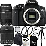 Canon EOS 750D/T6i DSLR Camera with EF-S 18-135mm f/3.5-5.6 IS STM Lens & EF 75-300mm f/4-5.6 III Lens 32GB Bundle 12PC Accessory Kit. Includes 32GB Memory Card + 2 UV Filters + Full Size Tripod + LED Video Light + Mini HDMI Cable + MORE