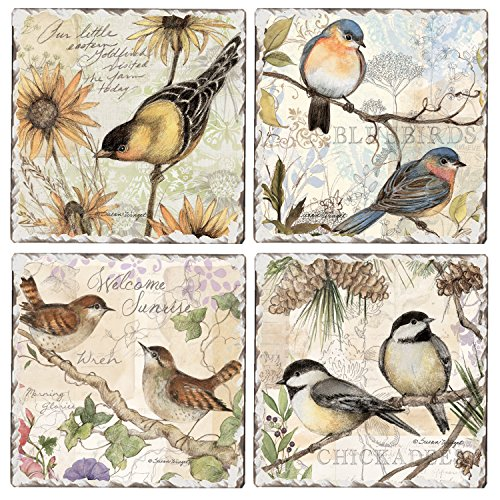 CounterArt Set of 4 Assorted Tumbled Tile Coasters, Birds on Branches ()