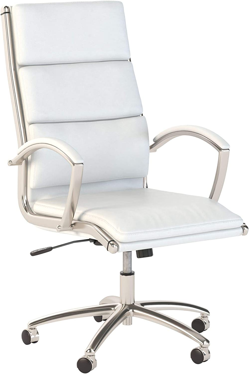Bush Business Furniture Office by kathy ireland Method High Back Executive Chair, White Leather