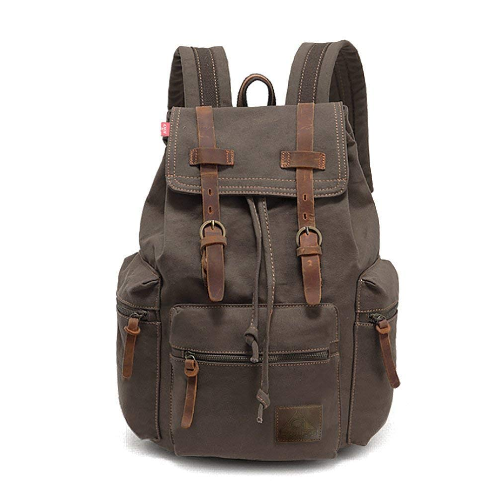 IRuipai 15.6 inch Canvas Laptop Backpack Unisex Vintage Leather Casual School College Bags Bookbag Hiking Travel Rucksack Business Daypack (M-Green)