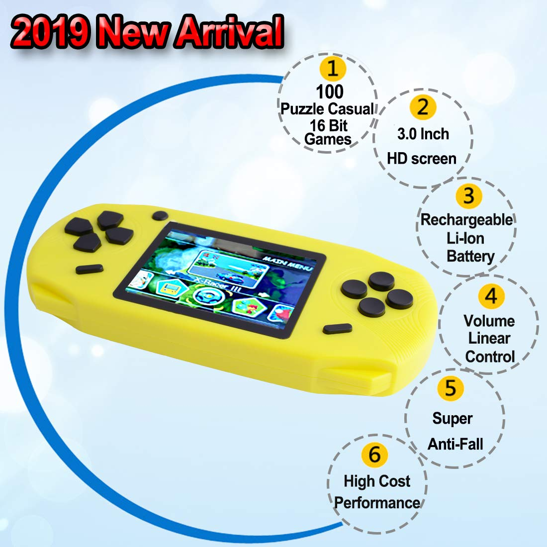 TEBIYOU Handheld Game Console, Built in 16 Bit100 HD Classic Video Games 3.0'' Large Screen Seniors Electronic Handheld Games Player Birthday Gift for Children Adults (Yellow) by TEBIYOU (Image #2)