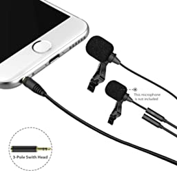 Lavalier Lapel Microphone, Dr.meter Best Professional Omnidirectional Mic with Easy Clip On System