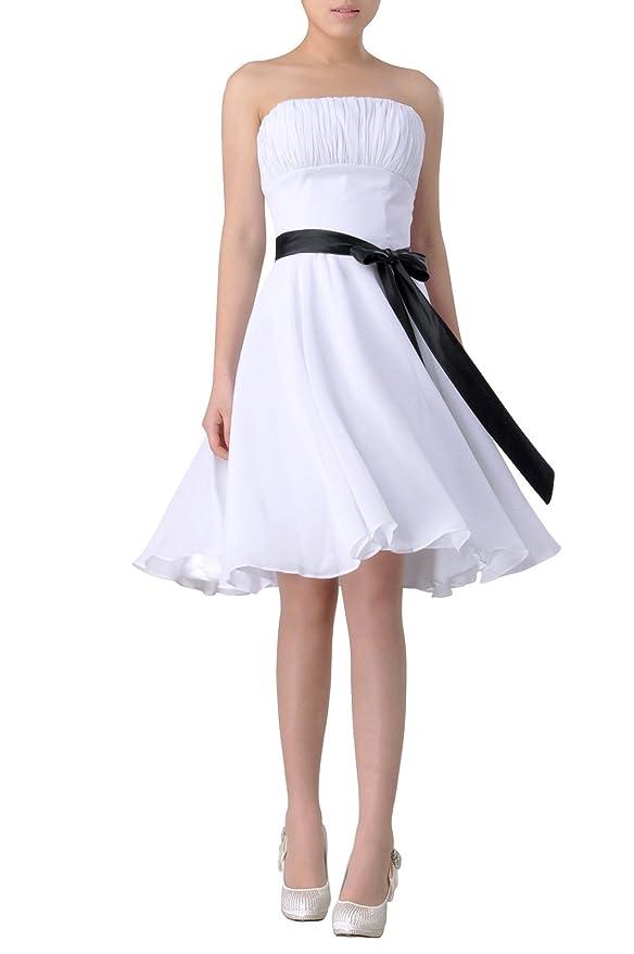 302bf47e0b16 Adorona Chiffon Empire Strapless Bateau Sleeveless A Line Graduation Dress  - White -: Amazon.co.uk: Clothing
