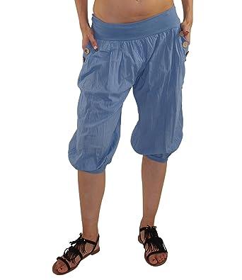 4afa7e344830 MODA Made in Italy Kurze Damen Sommerhose Haremshose mit elastischem Bund  Pluderhose Strandhose Pumphose Aladinhose Yogahose