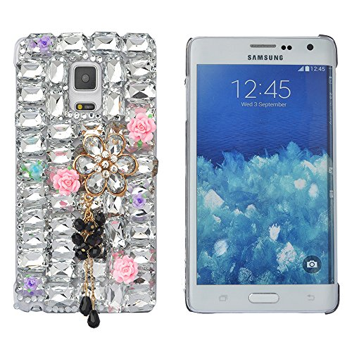 Spritech(TM) Bling Phone Case For Samsung Galaxy S6 Edge Plus,3D Handmade Silver Crystal Flower Pendant Accessary Design Cellphone Clear Cover