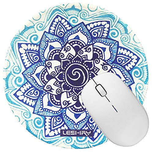 Non Slip Rubber Mouse Pad Beautiful Pattern Desktop 7.9in X7.9in Small Size Computer PC Round Mouse Mat (Mandala 14)