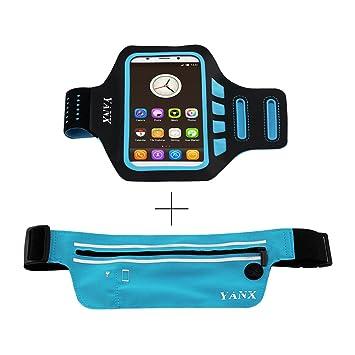 Brazalete Deportivo+Bolso de Cintura XinXu Brazalete Deportivo Antideslizante Impermeable Universal+Bolso de Cintura