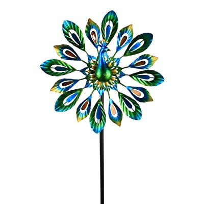 MUMTOP Wind Spinner 51 Inch Peacock Wind Spinner Outdoor Metal with Double Wind Sculpture for Patio, Lawn & Garden Decor: Garden & Outdoor