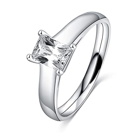 JEWH Delicate Silver Color Wedding Rings for Women - Anel Femme Engagement Ring - Crystal Fashion