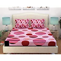 Vram 350 TC King Size Elastic Fitted Bedsheet with Two Pillow Cover - Multicolor