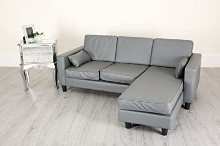 small grey leather sofa uk