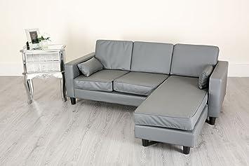 Pu Leather Corner L Shaped 3 Seat Sofa Couch Settee Beige Dark Light
