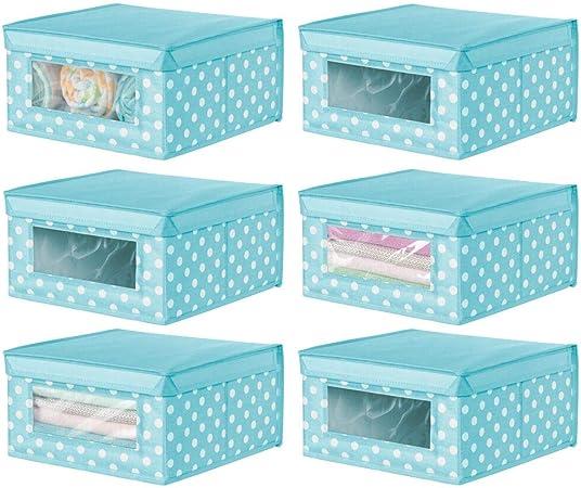 mDesign Juego de 6 Cajas organizadoras de Tela – Caja de almacenaje apilable para ordenar armarios, Ropa