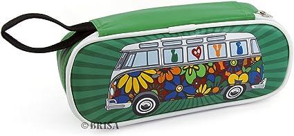 BRISA VW Collection - Volkswagen Furgoneta Hippie Bus T1 Van Estuche para lápices de polipiel (PU), Caja de papelería, Bolso de Maquillaje-Cosméticos, para Escuela/Oficina/Regalo (Love Bus/Verde): Amazon.es: Coche y moto