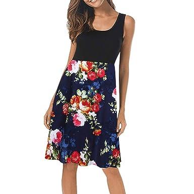 Mujeres Camisola Vintage O Cuello Floral Impreso Midi Dress ...