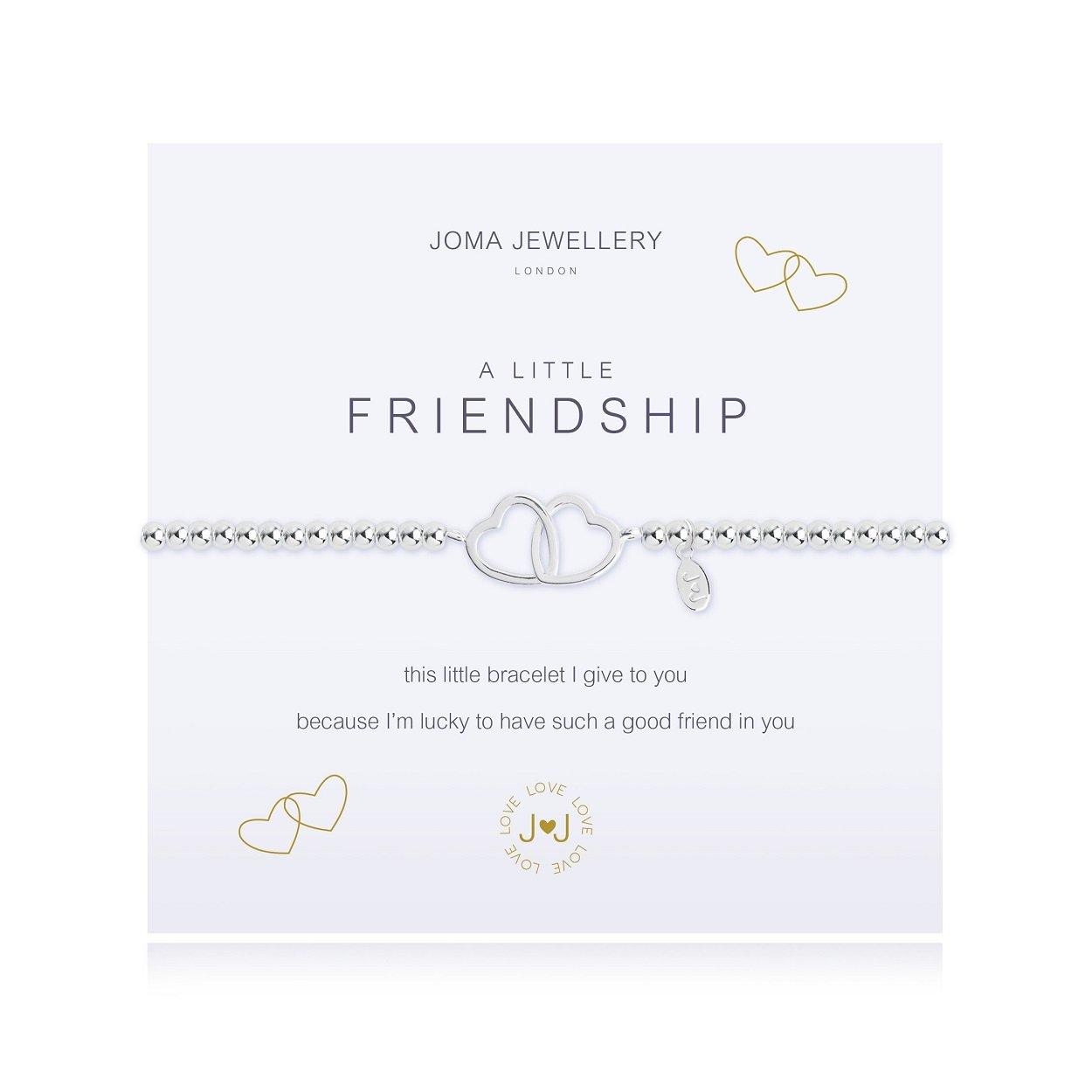 Joma Jewellery A Little Friendship Bracelet - Linking Silver Hearts DlpuAYYxAw