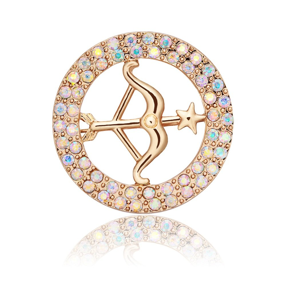 TUSHUO 5 Colors Round Shape Gold-Plated Bow and Arrow Brooch Pin Loves Arrow Brooch