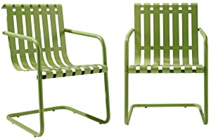 Crosley Furniture Gracie Retro Metal Outdoor Spring Chair - Oasis Green (Set of 2)