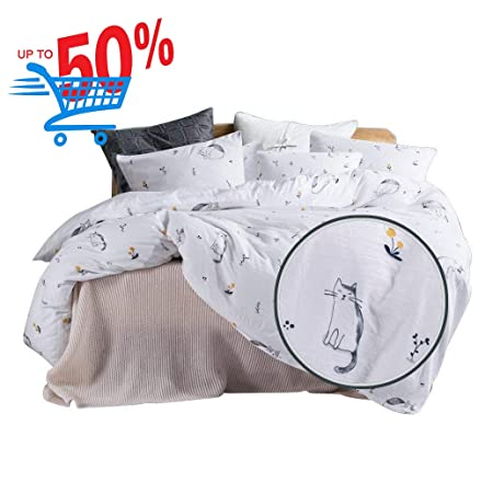 Ughome Soft Duvet Cover Set King Cute Cat Printed Pattern Lightweight Duvet Comforter Cover With 2 Pillowcases (Cat, King) by Ughome