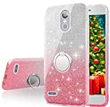 Cheap LG K30 Case, LG K10 2018 Case, LG Premier Pro Case, Silverback Girls Bling Glitter Sparkle Case With Ring Stand, Soft TPU Outer Cover + Hard PC Inner Shell for LG K10 Plus/LG K10 alpha 2018 -Pink
