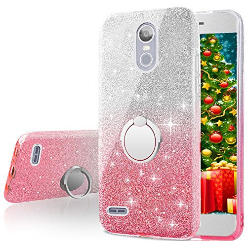 best service 1f962 3c3a8 LG K30 Case, LG K10 2018 Case, LG Premier Pro Case, Silverback Girls Bling  Glitter Sparkle Case With Ring Stand, Soft TPU Outer Cover + Hard PC Inner  ...