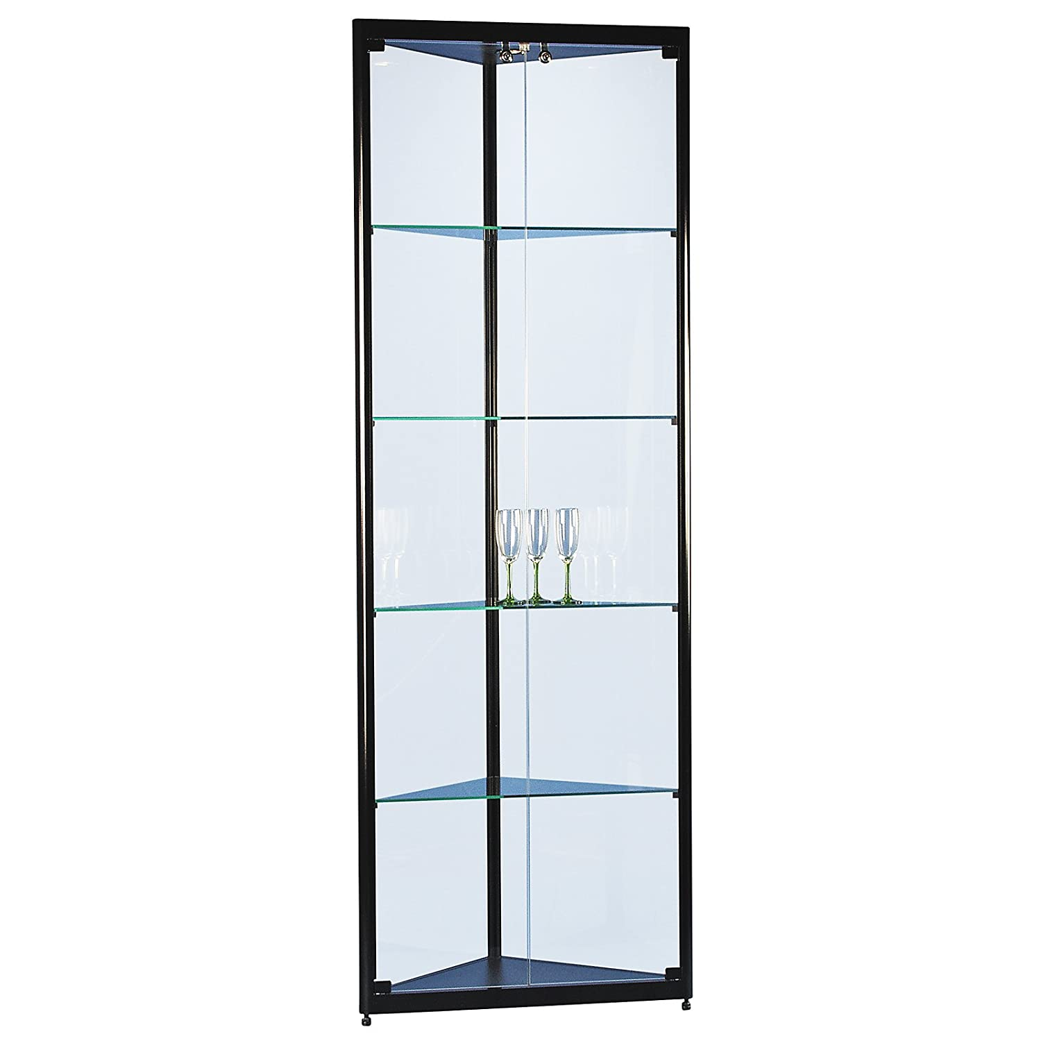 eckvitrine glasvitrine standvitrine sammlervitrine basic 500 alu schwarz glas beleuchtet. Black Bedroom Furniture Sets. Home Design Ideas