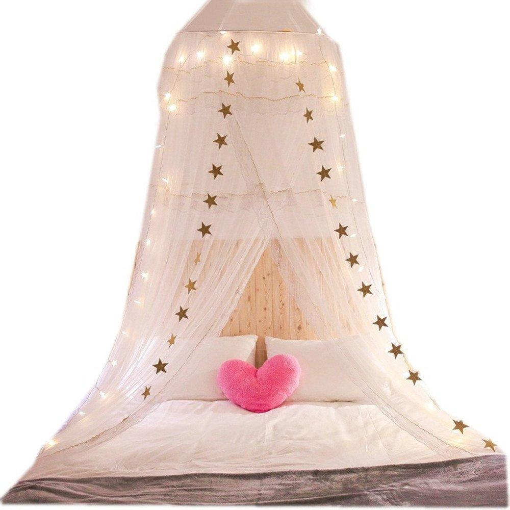 DASENLIN Schlafzimmer Moskitonetze Schlafzimmer DASENLIN Kind-Spitze-Bett Dome Weiß 2M addb89