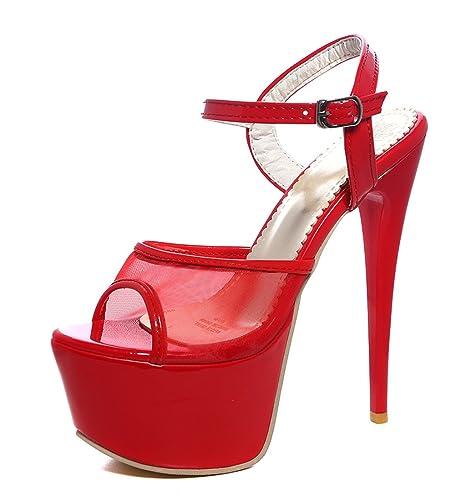 YE Damen Extreme High Heels Plateau Stiletto Sandaletten mit Schnalle Lack Mesch Pumps Party Schuhe
