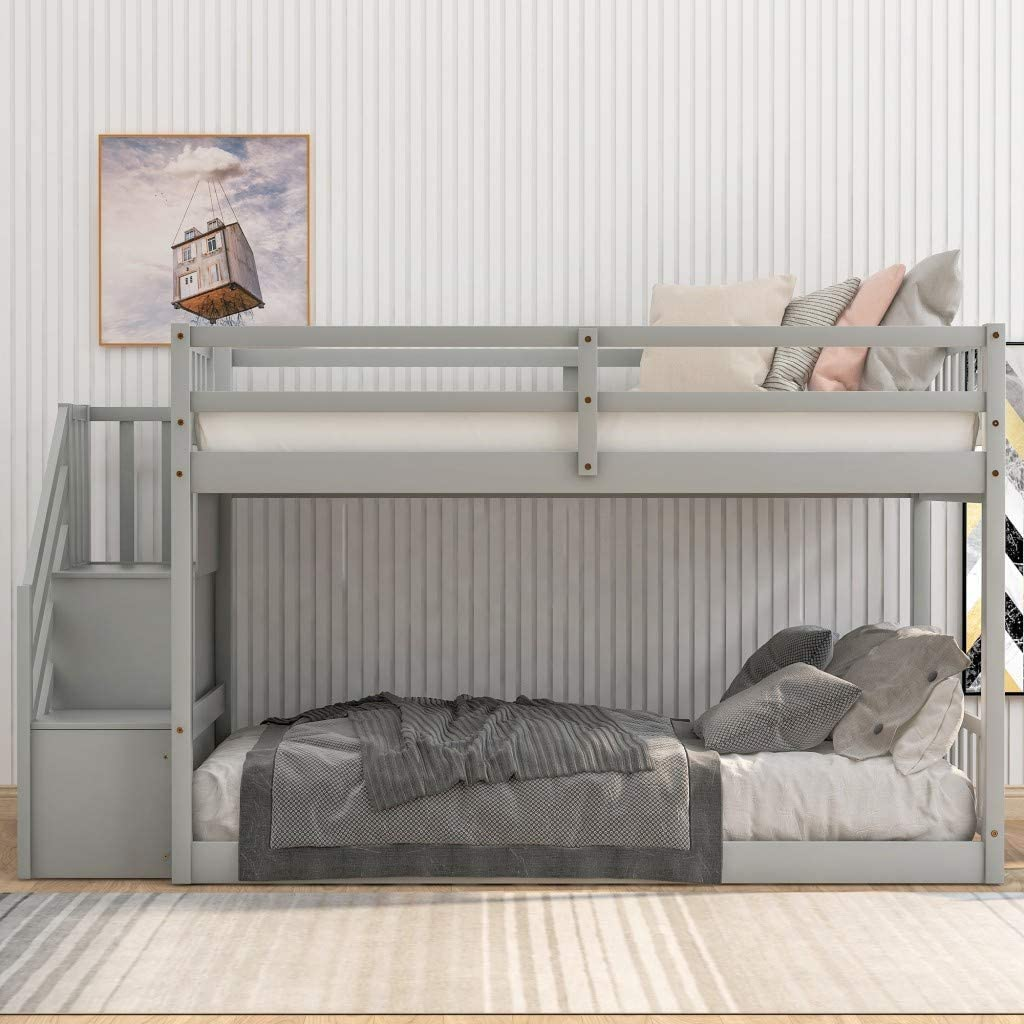 Amazon Com Low Bunk Beds Twin Over Twin Size Solid Wood Bunk Bed With Storage And Guardrail For Kids And Toddler Grey Low Bunk Beds Kitchen Dining