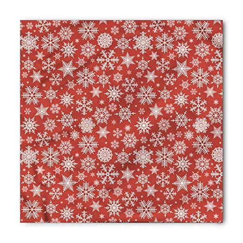 (Ambesonne Unisex Bandana, Red Various Snowflakes Winter, Red White)