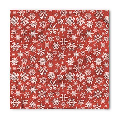 Snowflakes Bandana (Ambesonne Red Bandana, Various Snowflakes Winter, Unisex Head and Neck Tie)