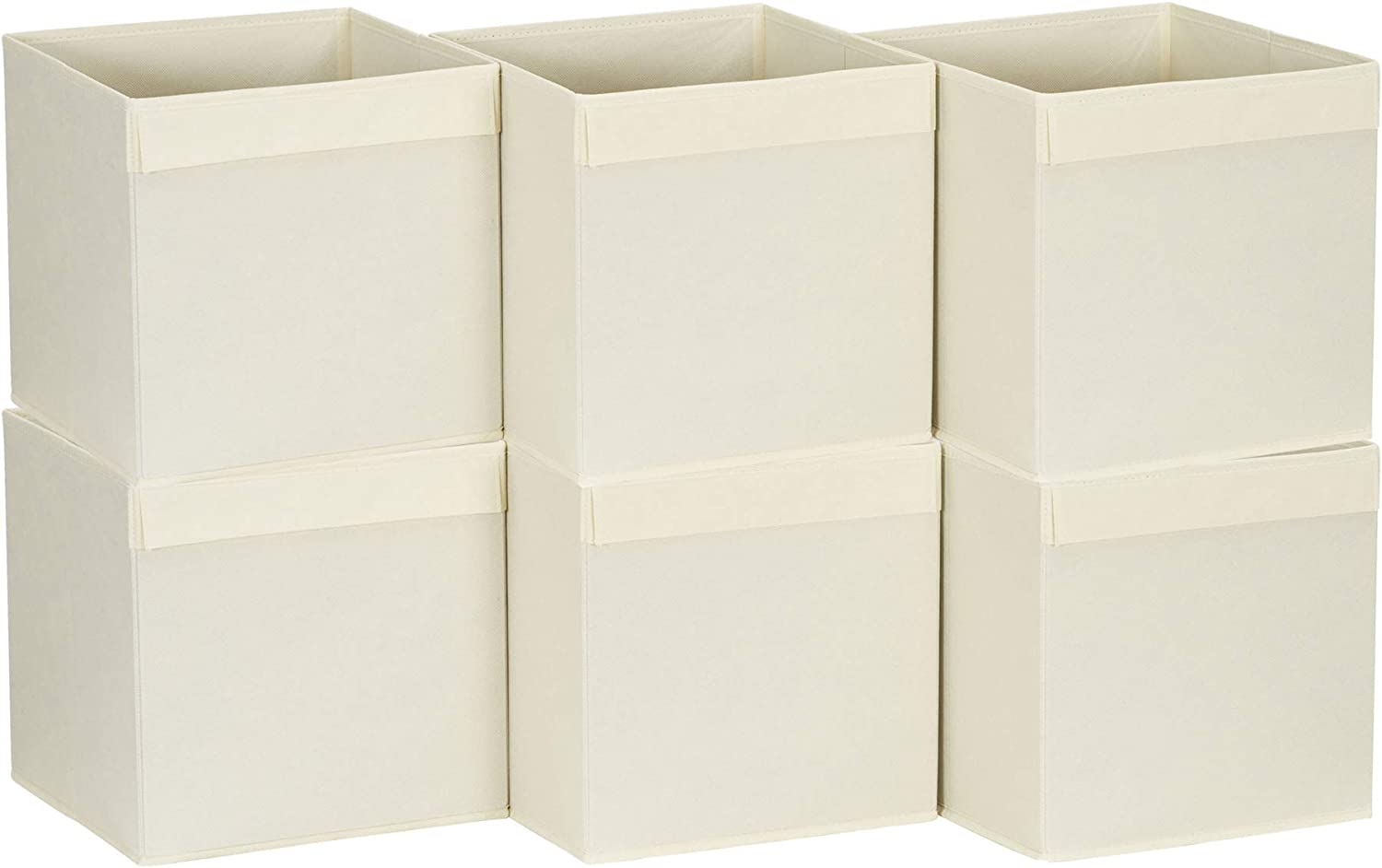 Household Essentials 88-1 Foldable Fabric Storage Bins | Set of 6 Cubby Cubes Beige, 6.4 lbs, Natural/Flap Handle