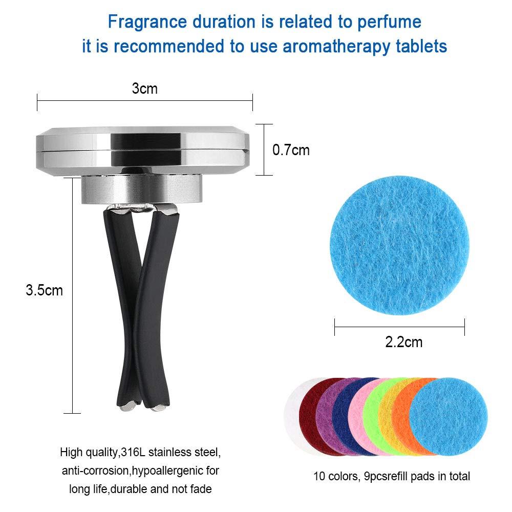 Vicloon Ambientador Difusor, Combinacion Magnetica Ambientador para Coche Aromatherapy Difusor de Aceite Esencial Locket de Acero Inoxidable con Vent Clip ...