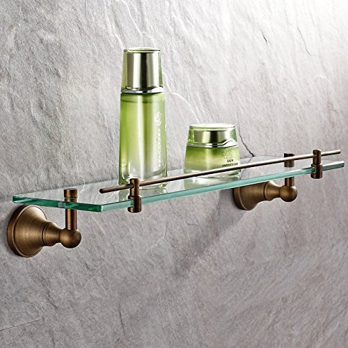 AUSWIND Antique Brass Bathroom Shelf Glass Storage Wall Mounted Bathroom Hardware 14.9'' (38CM)