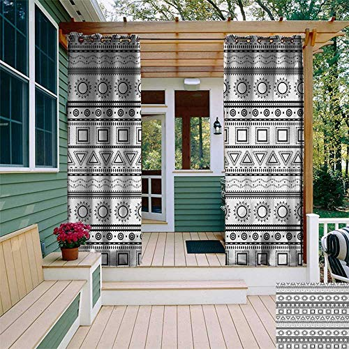 leinuoyi Primitive, Porch Curtains Outdoor Waterproof, Native American Aztec Ethnic Borders Traditional Sun Triangles Squares Print, for Privacy W72 x L96 Inch Black White