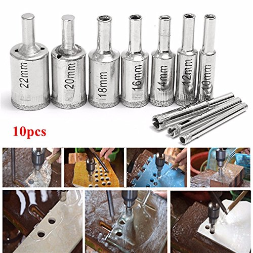 10pcs 5-22mm Diamond Hole Saw Drill Bit Set Tile Ceramic Glass Porcelain Marble Drill Bits by BephaMart