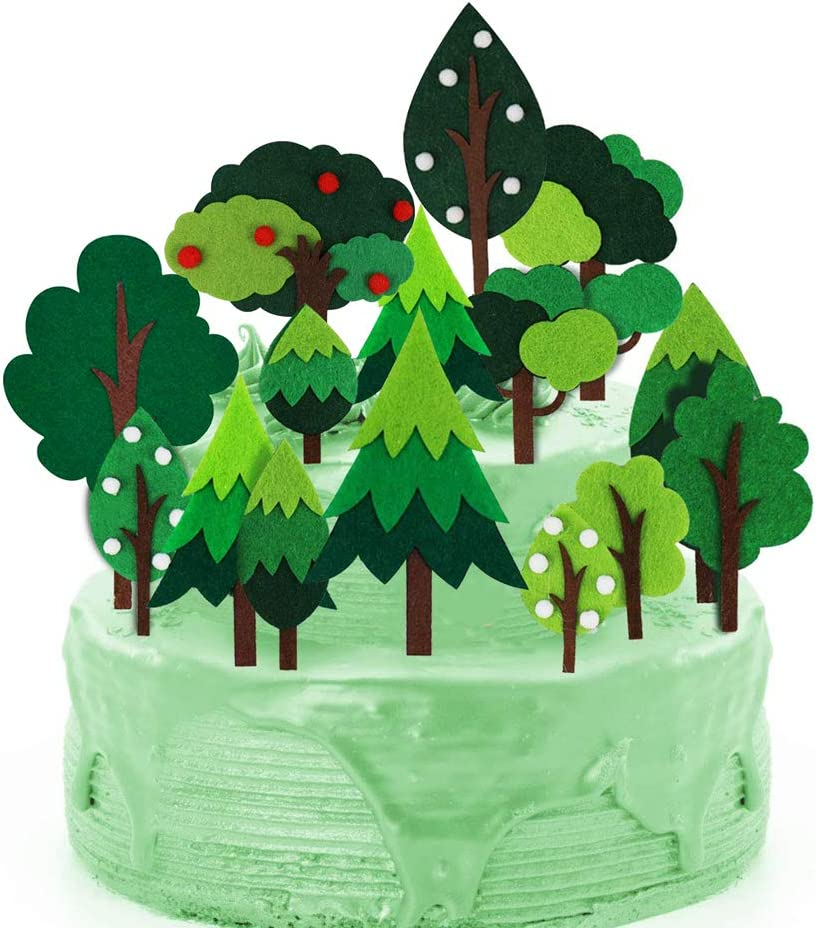 Woodland Green Trees Cake Topper, Handmade Woodland Theme Cake Decorations, Birthday Baby Shower Party Decorations, Kids Party Supplies