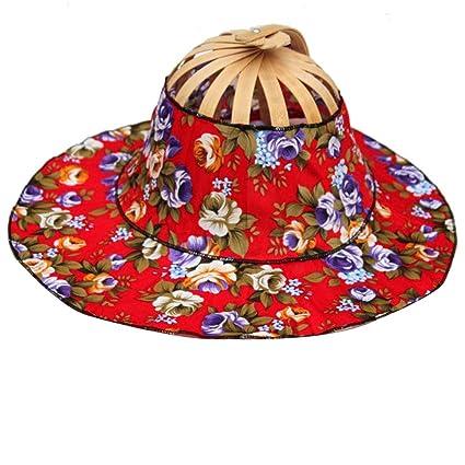 Amazon.com  Olpchee 2 in 1 Portable Hand Fan Sunhat Hat Bamboo Frame ... 4e16f00420f