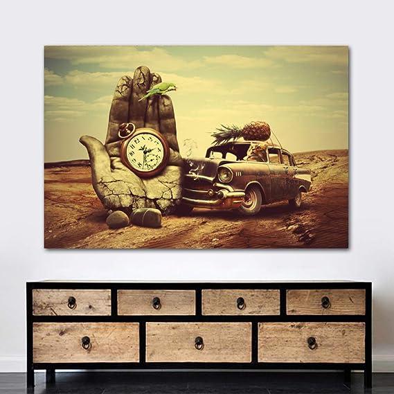 Pintura sobre lienzo Decoración de pared Arte clásico Salvador Dali Mano, reloj, automóvil, piña, loro Impresiones Carteles Arte de pared para sala de estar en pintura y caligrafía con marco 20x30cm: Amazon.es: