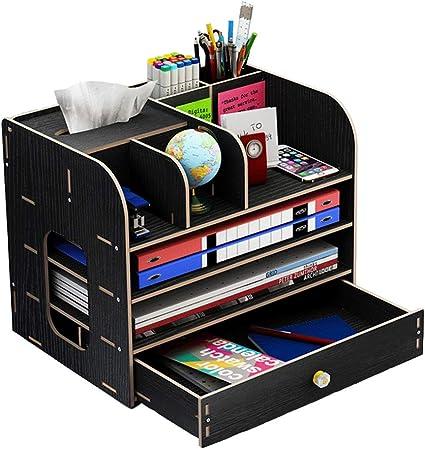 Organizador de escritorio, grande, de madera, con cajón, para ...