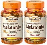 Sundown Naturals Melatonin, 10mg, 180 Capsules (2 X 90 Count bottles)