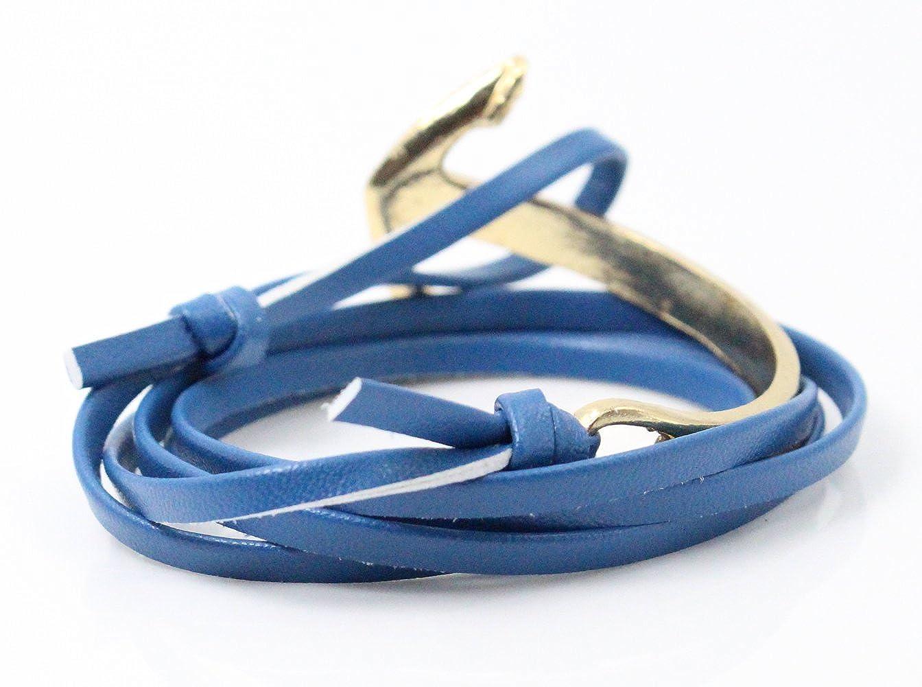Golastartery Punk Alloy Anchor Bracelet Hand Leather Cuff Bracelet