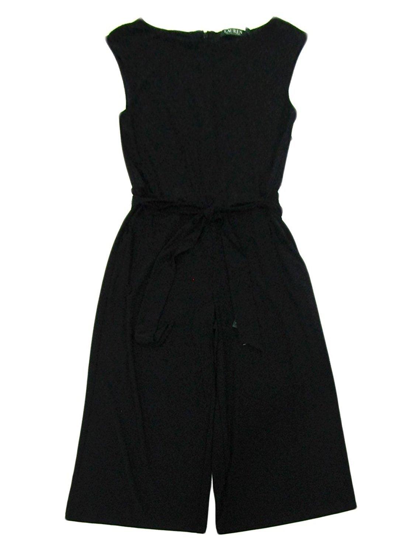 Lauren Ralph Lauren Womens Karrey Matte Jersey Wide Leg Jumpsuit Black L